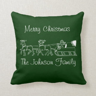 Personalized Reindeer and Sleigh Christmas Pillow