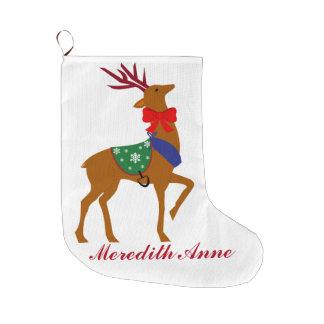 Personalized Reindeer Christmas Stocking Large Christmas Stocking