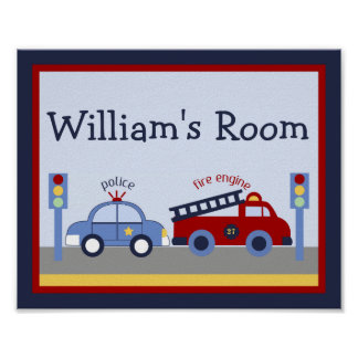 Personalized Rescue Hero Fire Engine/Truck Poster