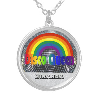 Personalized Retro 70s Disco Dance Queen Rainbow Silver Plated Necklace