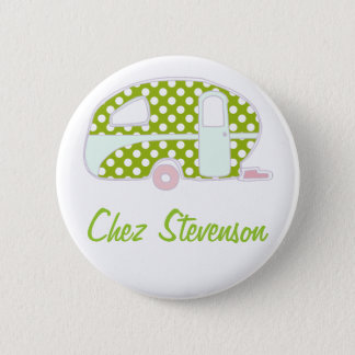 Personalized Retro Art Caravan Owner's Buttons