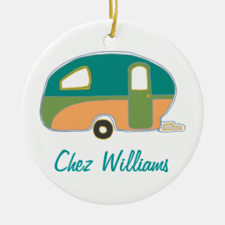 Personalized Retro Design Caravan Ornaments Round Ceramic Ornament