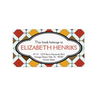 Personalized Retro Diamond Pattern Bookplate Address Label