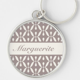 Personalized Retro Dusty Grey Circles and Swirls Silver-Colored Round Key Ring