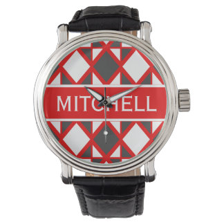 Personalized Retro Red Geo Watch