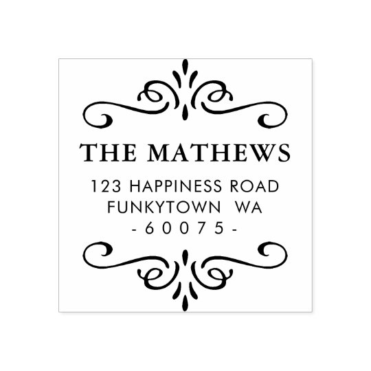 PERSONALIZED RETURN ADDRESS art deco detail Rubber Stamp
