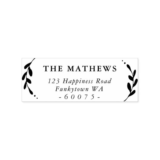 PERSONALIZED RETURN ADDRESS cute foliage simple Rubber Stamp