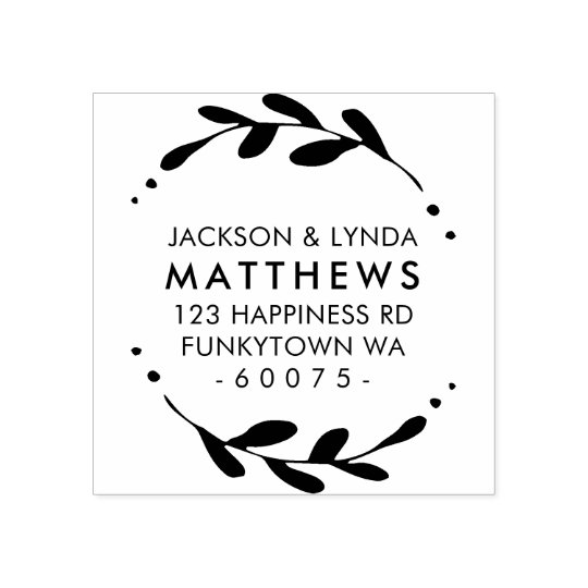 PERSONALIZED RETURN ADDRESS foliage frame simple Rubber Stamp