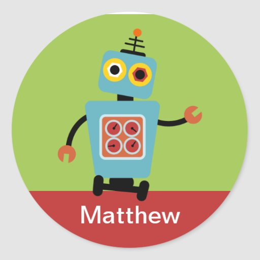 Personalized Robot Name Stickers, Label