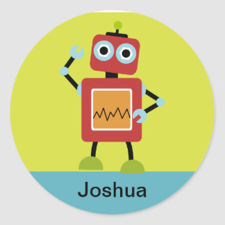 Personalized Robot Name Stickers, Label Round Sticker