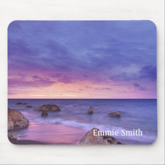 Personalized Rocky Beach at Sunset Mouse Pad