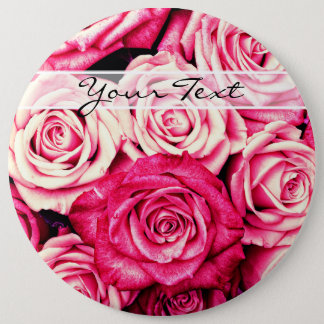 Personalized Romantic Pink Roses 6 Cm Round Badge