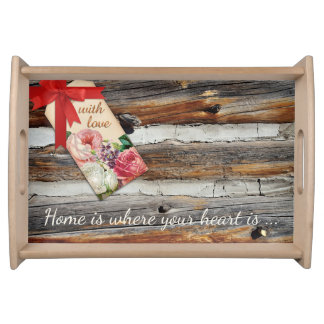 Personalized Romantic Rustic Wood Serving Tray
