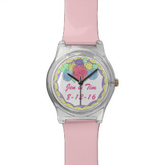 Personalized Rose Cake Wedding Favor Watch