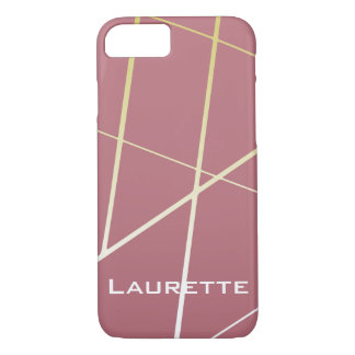 Personalized Rose Gold Faux Gold Lines iPhone 8/7 Case