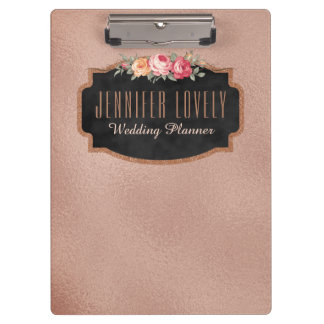 Personalized Rose Gold Foil Chalkboard Floral Clipboard