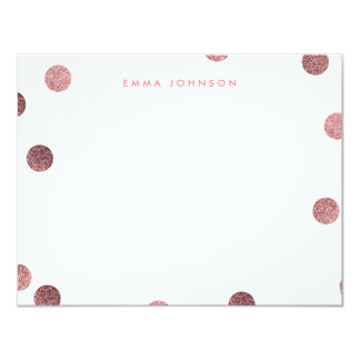 Personalized Rose Gold Glitter Modern Polka Dot 11 Cm X 14 Cm Invitation Card