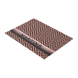 Personalized Rose Gold Glitter Pink Black Chevrons Doormat