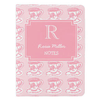 Personalized Rose Teacups Pink Monogram Notebook