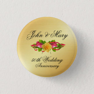 Personalized Roses & Gold 50th Wedding Anniversary 3 Cm Round Badge