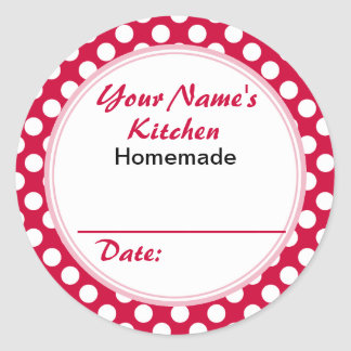 Personalized Round Baking Cooking Labels Red Dots Round Sticker