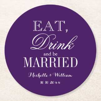 Personalized royal purple round wedding coasters