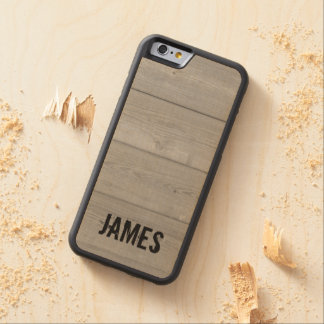 Personalized rugged wood panel iPhone 6 case