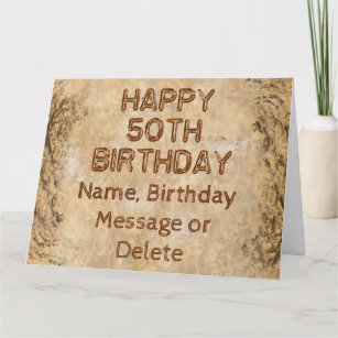 Personalized Rustic 50th Birthday Cards For Him