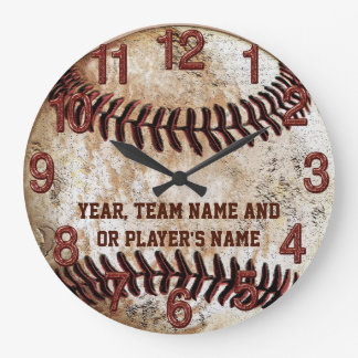 PERSONALIZED Rustic Baseball Gifts for Team or Sen Large Clock