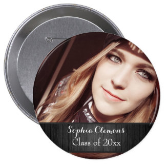 Personalized Rustic Black Wood Photo Grad Year 10 Cm Round Badge