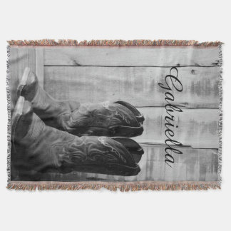Personalized Rustic Boots Country Throw