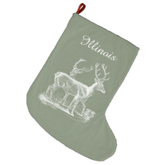 Personalized Rustic Camouflage Green Christmas Large Christmas Stocking