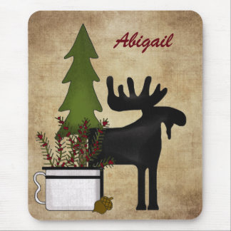 Personalized Rustic Mountain Moose Mousepad