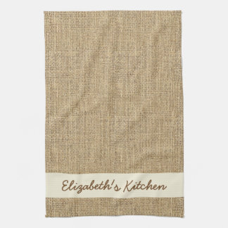 Personalized Rustic Simulated Burlap Tea Towel