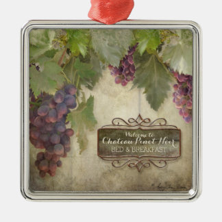 Personalized Rustic Vineyard Winery Fall Wine Sign Metal Ornament
