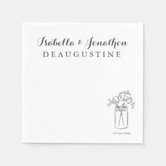 Personalized Rustic Wedding Mason Jar Disposable Napkins