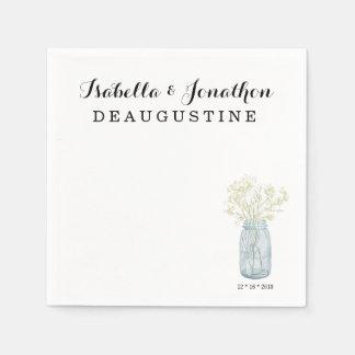 Personalized Rustic Wedding - Mason Jar Disposable Serviette