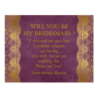 Personalized Rustic Will You Be My Bridesmaid Post Postcard