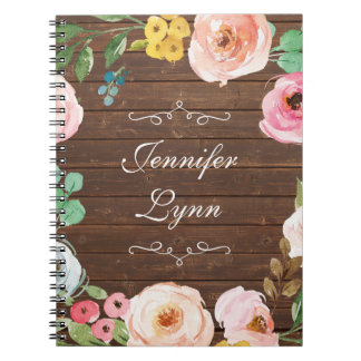 Personalized Rustic Wood & Floral Notebook