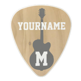 personalized rustic wood polycarbonate guitar pick