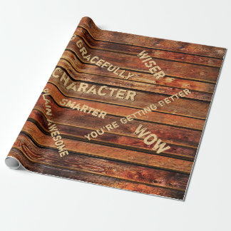 Personalized Rustic Wrapping Paper with Age Quotes