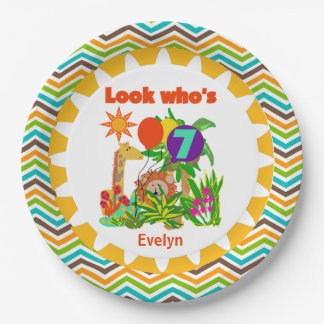 Personalized Safari 7th Birthday Paper Plates