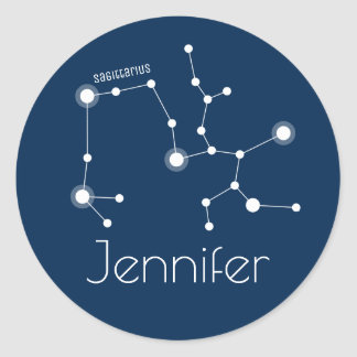 Personalized Sagittarius Zodiac Constellation Classic Round Sticker