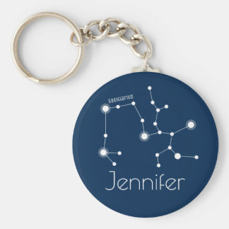 Personalized Sagittarius Zodiac Constellation Key Ring