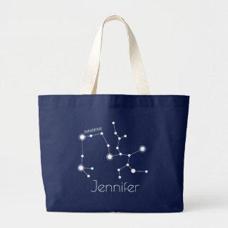 Personalized Sagittarius Zodiac Constellation Large Tote Bag