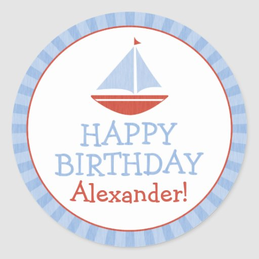 Personalized Sailboat Kids Birthday Stickers