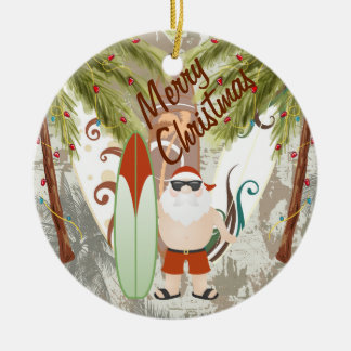 Personalized Santa and Surfboards Beach Christmas Round Ceramic Decoration