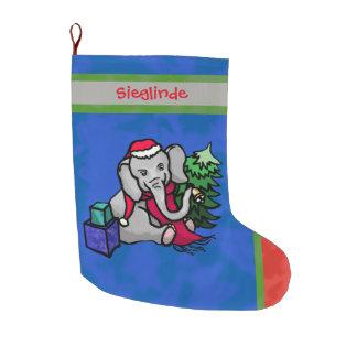 Personalized Santa Hat Christmas Cartoon Elephant Large Christmas Stocking