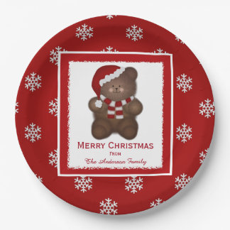 Personalized Santa Teddy Bear Paper Plates