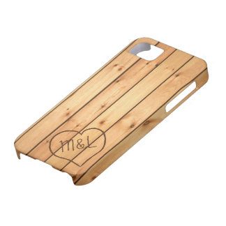 Personalized Sauna Wood Panels w/ Heart & Initials Case For The iPhone 5